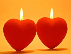 Two heart candles