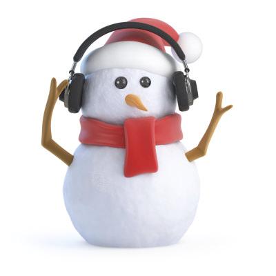 Snowman wearing headphones